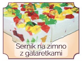 sernik na zimno z kolorowymi galaretkami